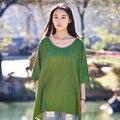 2016 Новый Твердый Зеленый Плюс размер Белье Женщины Блузки Рубашки летние Свободные Случайный Блузка Рубашка Негабаритных Женщины Белье Ти Топы B082