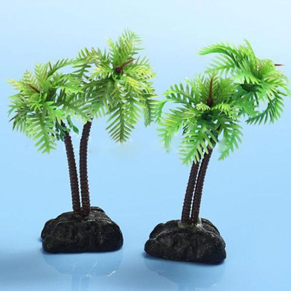 ᑎ‰Alta calidad no tóxica artificial acuario árboles de coco plantas ...