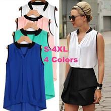 Women High Quality Sleeveless Shirt Roupas Camisas Plus Size S-4XL Female Casual Chiffon Blouse Shirts Blusas Femininas 4 Colors
