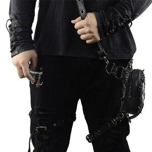 Image 5 - Gothic Steampunk Schedel Tas Nieuwe Vrouwen Messenger Bag Leer Klinknagel Taille Been Tassen Fashion Retro Rock Motorfiets Beenzak Voor mannen