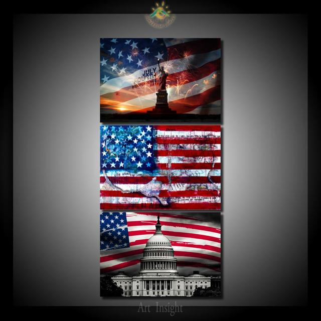 3 Pieces/set USA Flag Wall Art Pictures Printed Canvas Painting Modern Wall  Pictures Home