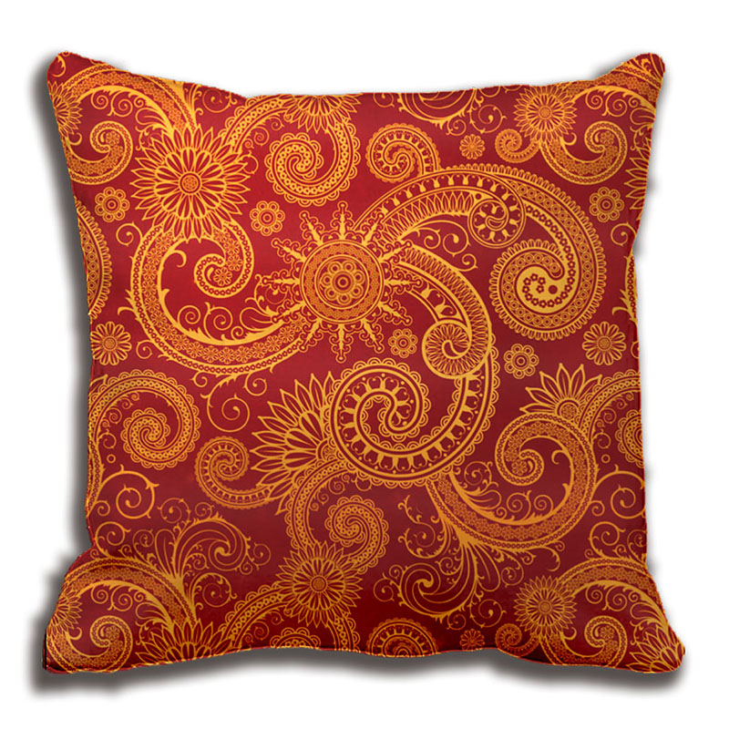 Abstract Red And Gold Floral Pattern Pillow Decorative Cushion Cover Fascinating Red And Gold Decorative Pillows
