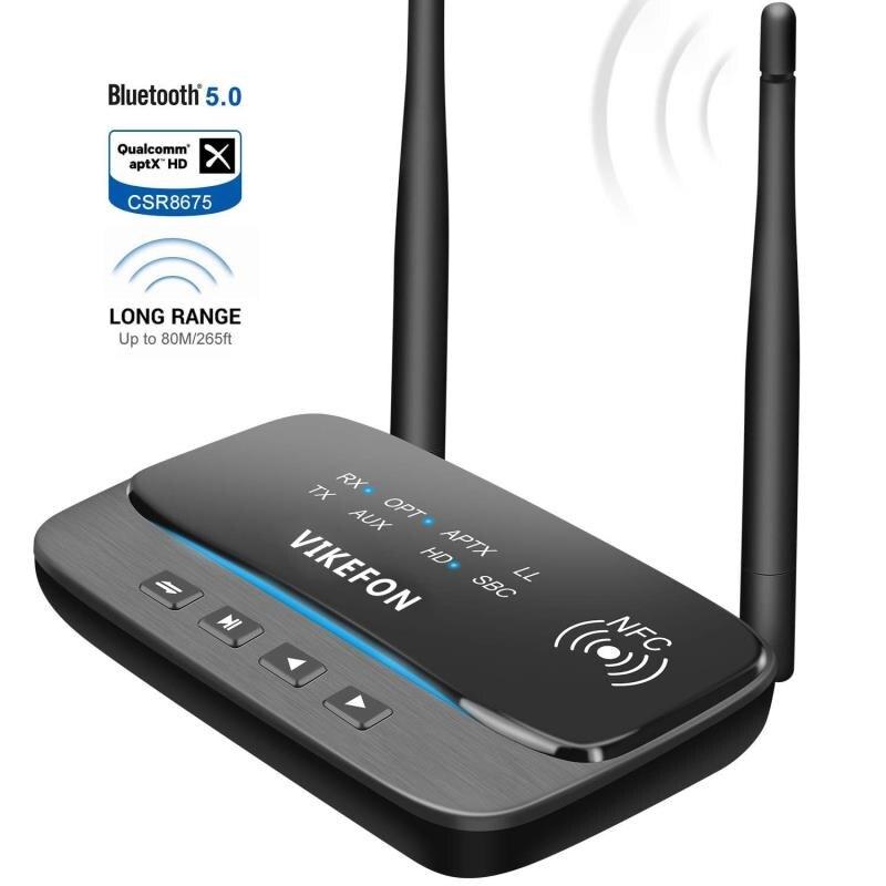 NFC und 262ft/80 m Long Range Bluetooth 5,0 Sender Empfänger 3in1 Audio Adapter Niedrigen Latenz aptX HD Optische RCA AUX 3,5mm TV