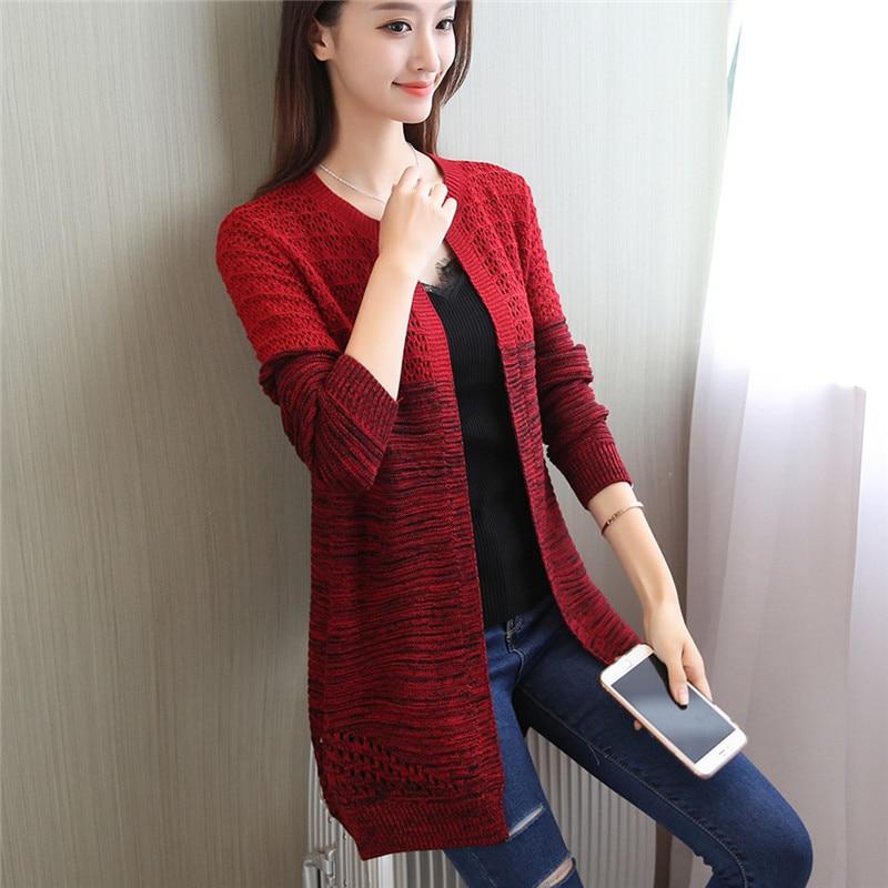 48 Korean new long spell color sweater Womens cardigan coat F1851