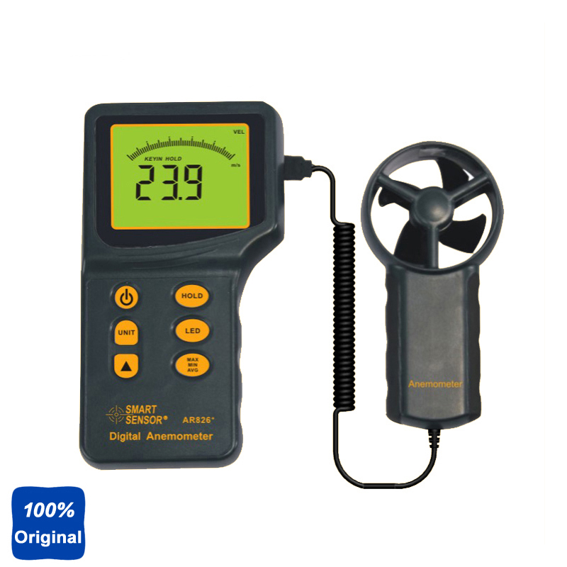 100% Original AR826 0.3~45m/s Wind Gauge Digital Air Flow Anemometer Wind Speed Meter free shipping gm8901 45m s 88mph lcd digital hand held wind speed gauge meter measure anemometer thermometer