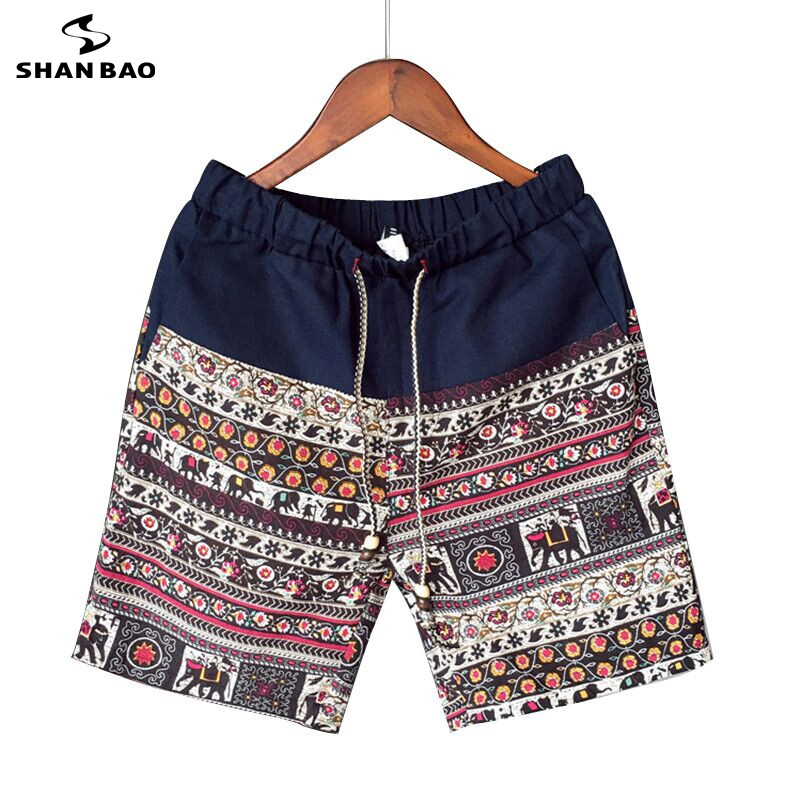 Men and women models leisure   shorts   fashion cotton and linen stitching 2019 summer brand beaded flowers printed beach   shorts