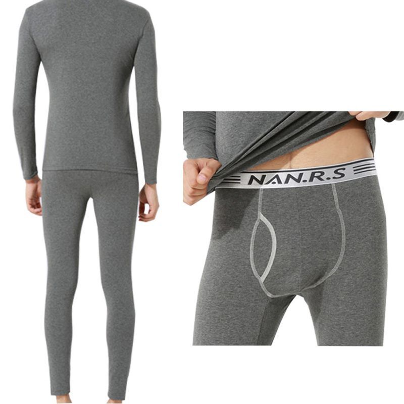 2 Pcs Set Men Spandex Thermal Underwear Pajama Suit Autumn Winter Warm Long Johns Tops Bottoms L-XXXL