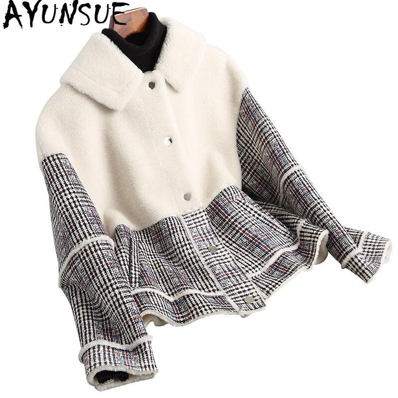 AYUNSUE 2018 Mode Angleterre Épais Réel Laine De Fourrure Manteau Femmes Plaid Automne Hiver Vestes Composite De Fourrure Manteaux Outwear 18007 YQ1761