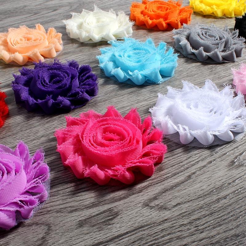 120 шт./лот 2.6 «15 цветов модные шикарные Потертый шифон цветы для детей аксессуары для волос 3D Изношенные ткани цветы для ободки