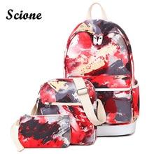 СКИОНЕ корейский стиль модные женские туфли школьная сумка рюкзак холст большой Bookbags для подростков женские туристические рюкзаки красный граффити мешок
