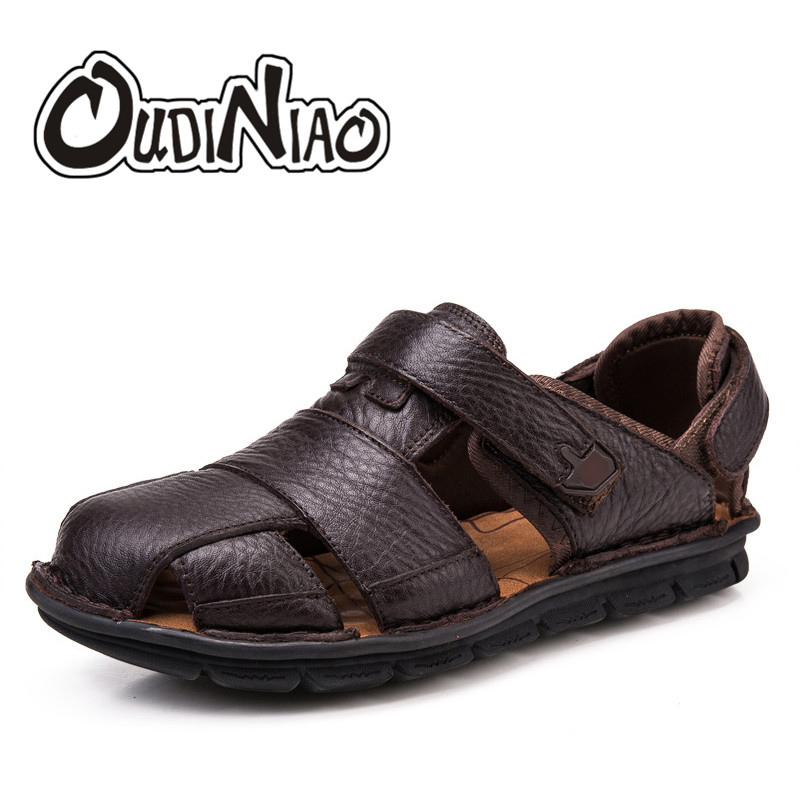 OUDINIAO Mens Shoes Genuine Cow Leather Men Sandals Hook Loop Summer Men's Shoes Beach Large Sizes Gladiator Sandals Men big size 40 41 42 women pumps 11 cm thin heels fashion beautiful pointy toe spell color sexy shoes discount sale free shipping
