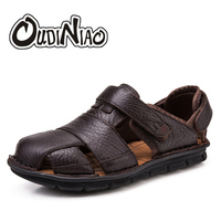 OUDINIAO Mens Shoes Genuine Cow Leather Men Sandals Hook Loop Summer Men's Shoes Beach Large Sizes Gladiator Sandals Men