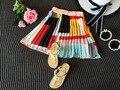 2017New Summer girls fashion wrinkle short patchwork skirt beach skirt and wild skirt