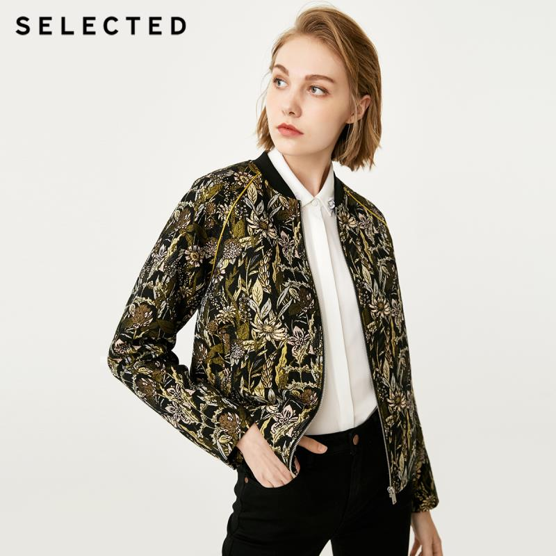 SELECTED Women s Jacquard Baseball Collar Business casual Coat S 418321511