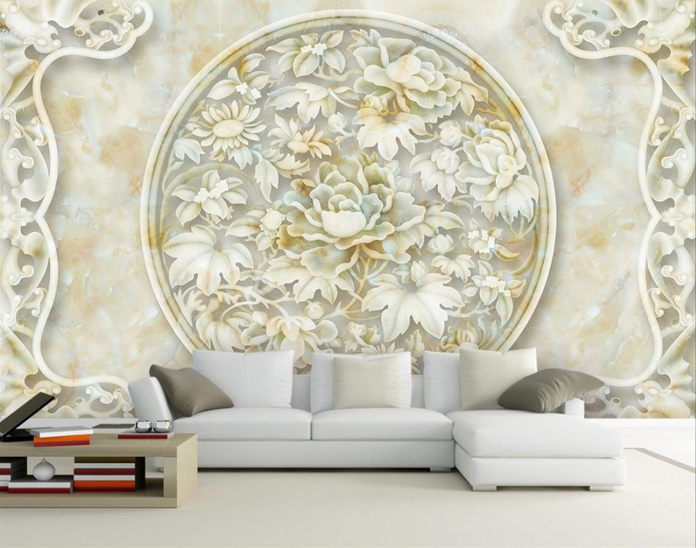 Peony marble relief custom 3d wallpaper murals 3d wallpaper flower ...