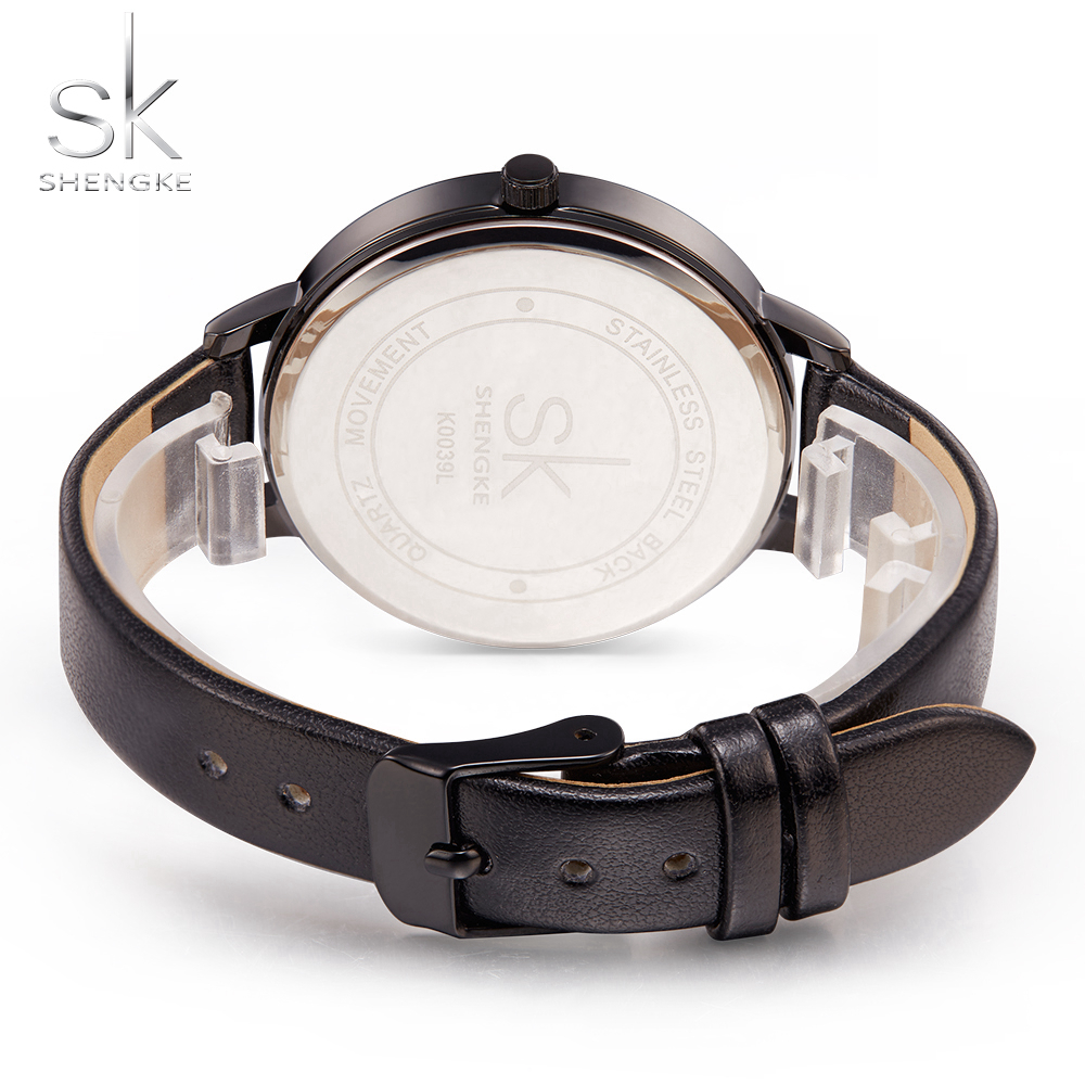 Shengke Women Watches Causal Women Leather Watch Mixmatch Ladies Watch Black Leather Strap Wristwatch 4 Colors Montre Femme SK 6
