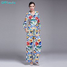 2017 Runway High Quality Women's 2 Piece Set Blue Floral Print Long Sleeves Shirt + Loose Casual Palazzo Long Pants Set Suit