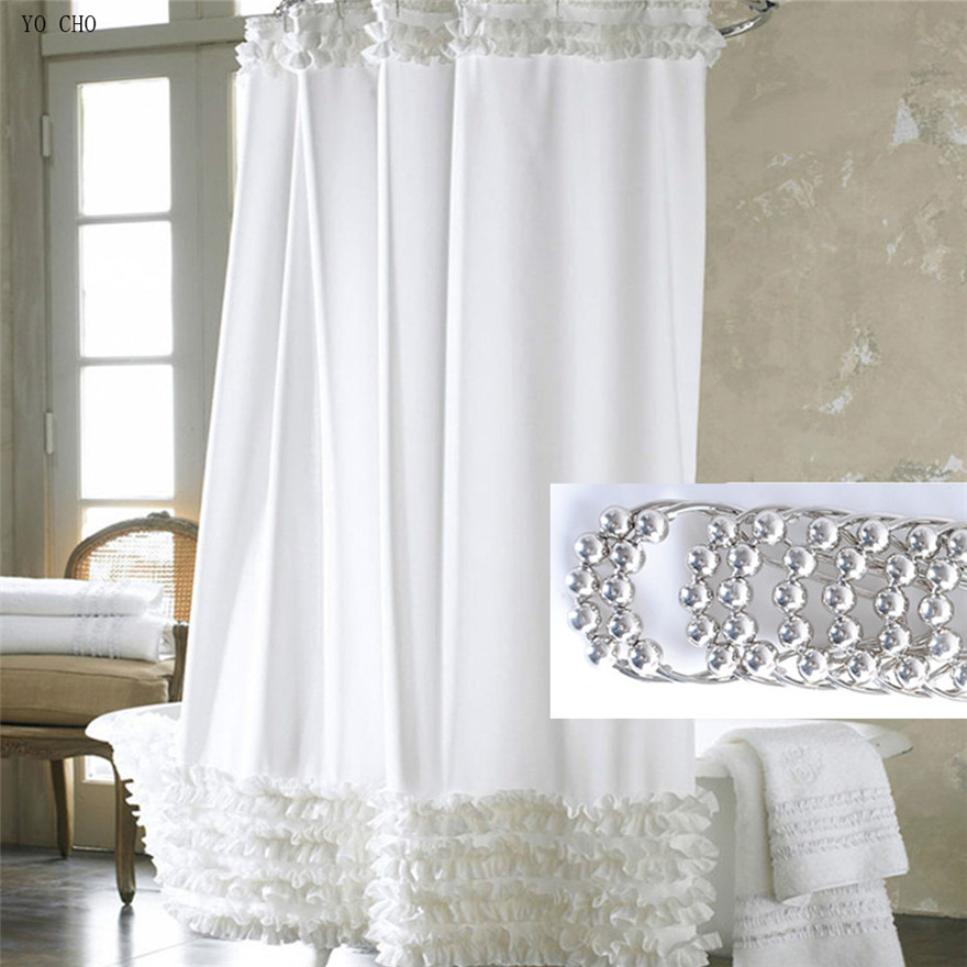 Thicken White Lace Shower Curtain For The Bathroom Waterproof Christmas  Bath Curtain With Metal Hooks Polyester