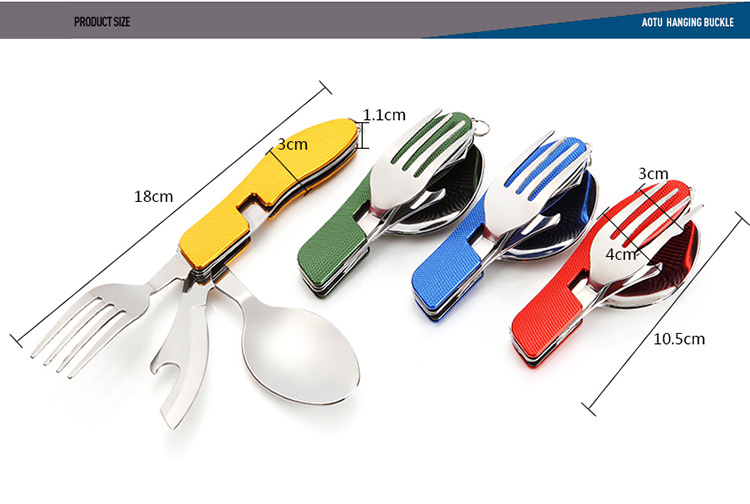 VILEAD Portable Folding Knife Fork Spoon Combined Camping Set Multifunctional Stainless Steel Outdoor Tableware for Picnic in Outdoor Tablewares from Sports Entertainment