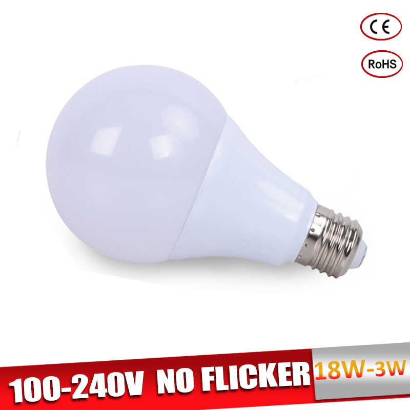 E27 LED Bulb 18W 15W 12W 9W LED Lampada Ampoule Bombilla 7W 5W 3W LED Lamp 220V 110V Cold/Warm White for Indoor Lighting