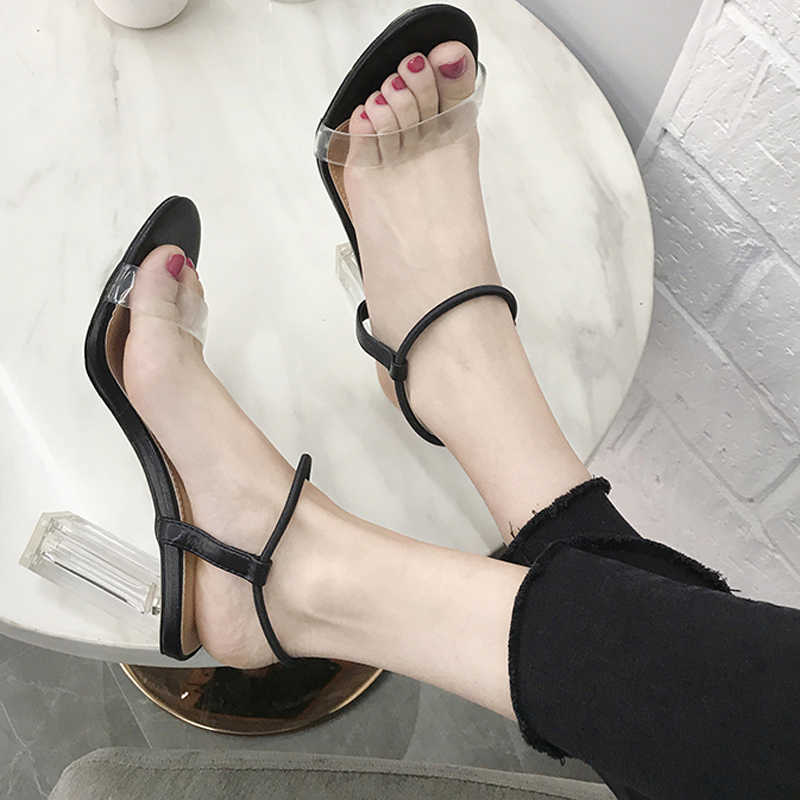 HEE GRAND Women High Heels Ladies Sexy Pumps Woman Shoes Summer Sandals Transparent Shoes Clear Heels Slip On For Female WXG680