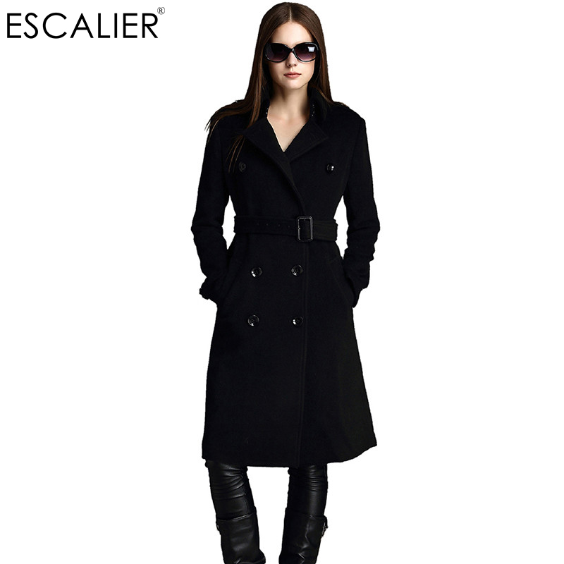 5026444dce87 ESCALIER Free Shipping Winter Women Coats Wool Blend Overcoat X Long Woolen  Sashes Pockets Outerwear Double