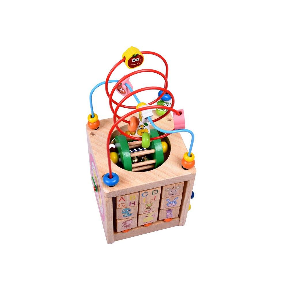 Perle en bois labyrinthe activité Center boîte multi-fonction ronde perles boîte Cube bois jouets unisexe enfants polyvalent jouet éducatif - 6
