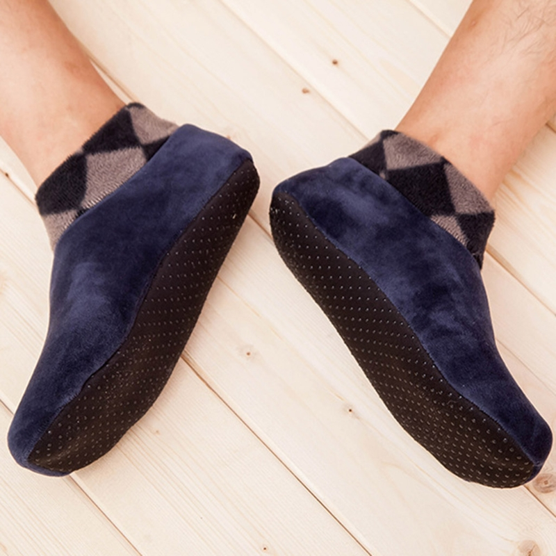 26cm Men Thicken Winter Warm Boat Socks Elastic Indoor Floor Socks Slipper Non Slip Soft Casual Breathable New Arrival Acetate