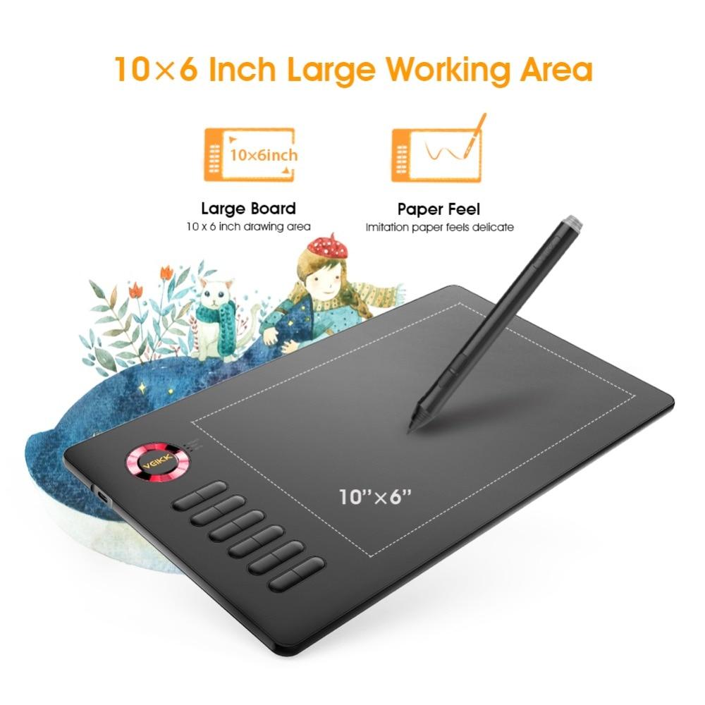 Tablette de dessin VEIKK A15 10x6 pouces 0.9 cm tablette graphique Ultra-mince 5080LPI tablette numérique 8192 niveaux avec stylo sans batterie - 4