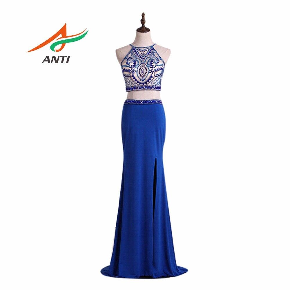 ANTI Royal Blue 2 Pièce Robe De Soirée Longue Cristal Populaire Robes De Cérémonie Plus La Taille Doux 16 Ans Robes De Bal Parti-Longueur