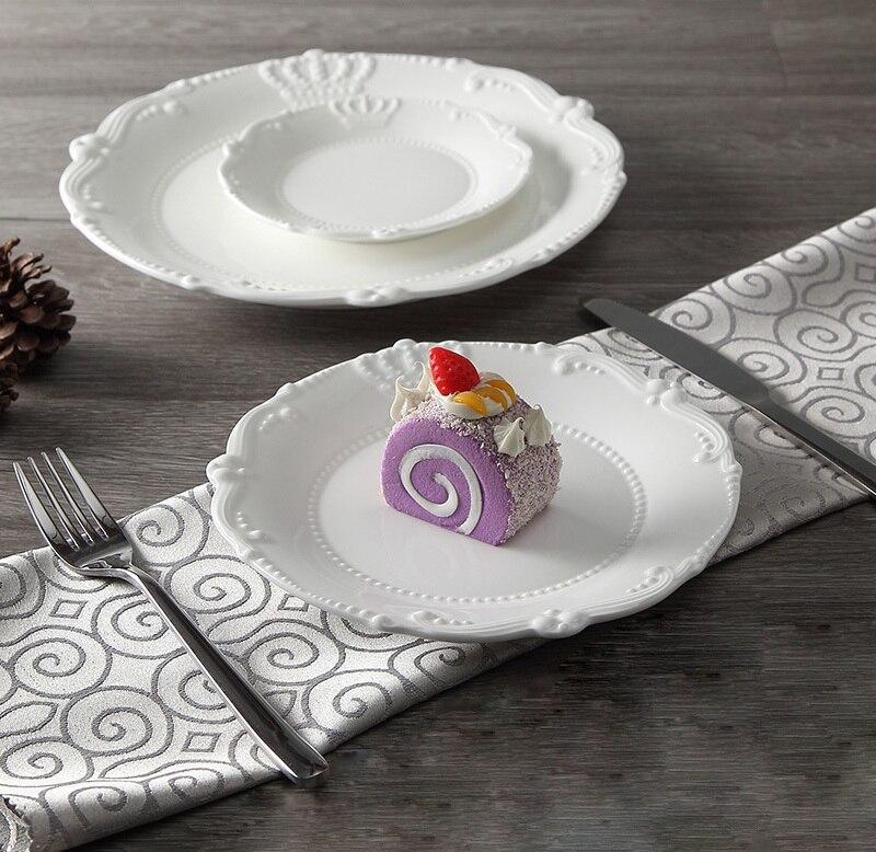 Service d'assiettes en céramique porcelaine | Soulagement de la couronne royale de 6 ''8'' 10 ''assiette principale, plateau de service, vaisselle pour Restaurant, Home café - 4