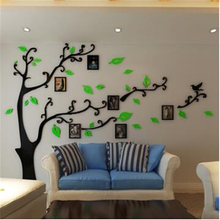 Hot ! 2015 New Creative 3D DIY Acrylic Mirror Wall stickers Tree Photo Frame Modern Living room Sofa TV background Sticker