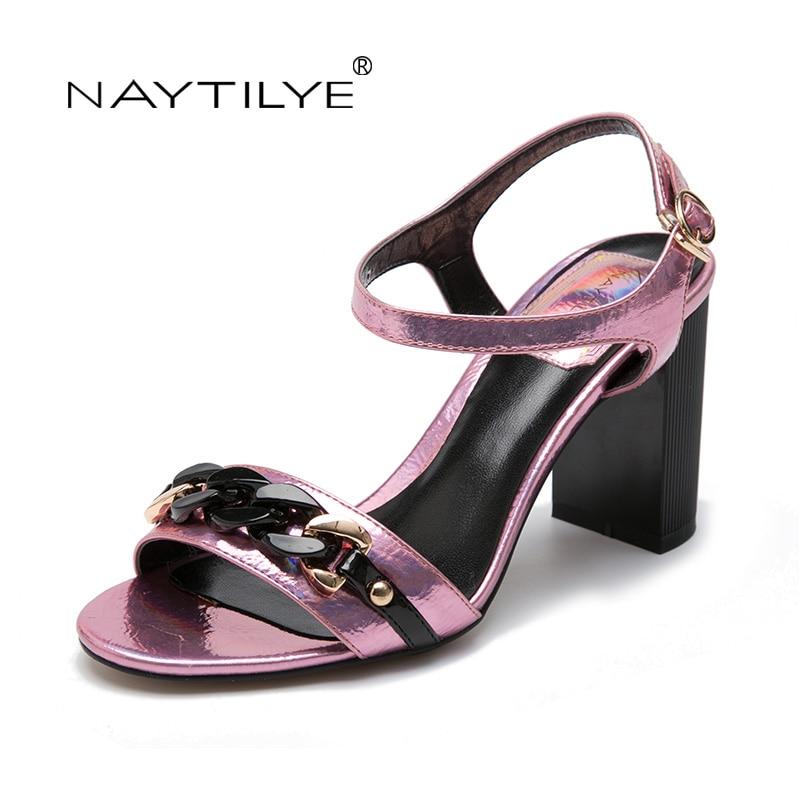 NAYTILYE летни сандали Bling Rhinestone жени сандали високи токчета мода удобни обувки жена Безплатна доставка