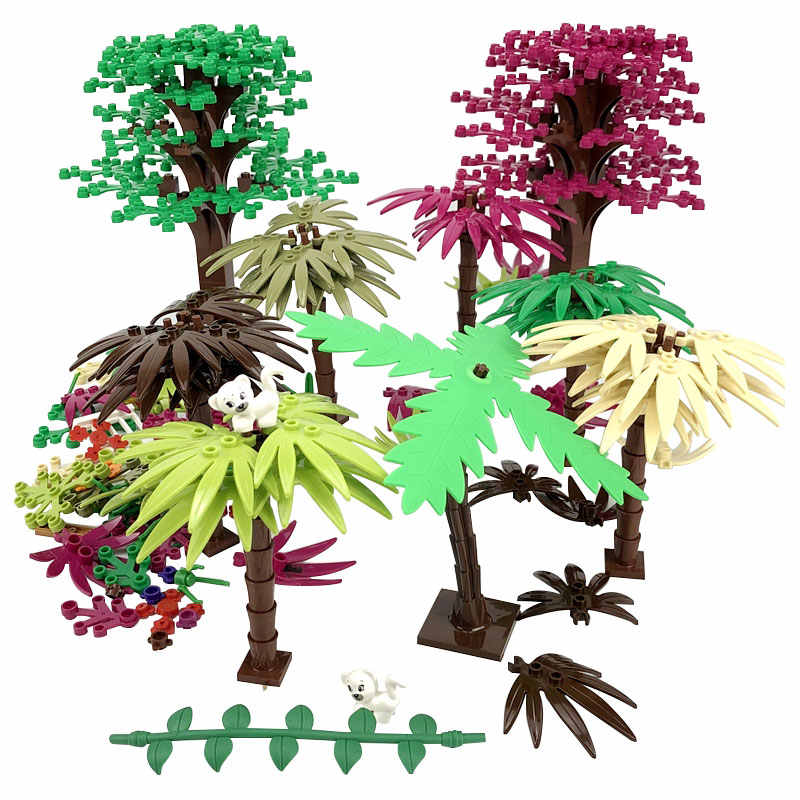 Legoing كتل زارة التجارة المبدعين النبات شجرة ورقة بناء مجموعات الطوب لعب للأطفال متوافق ل Legoing مدينة أجزاء كتل