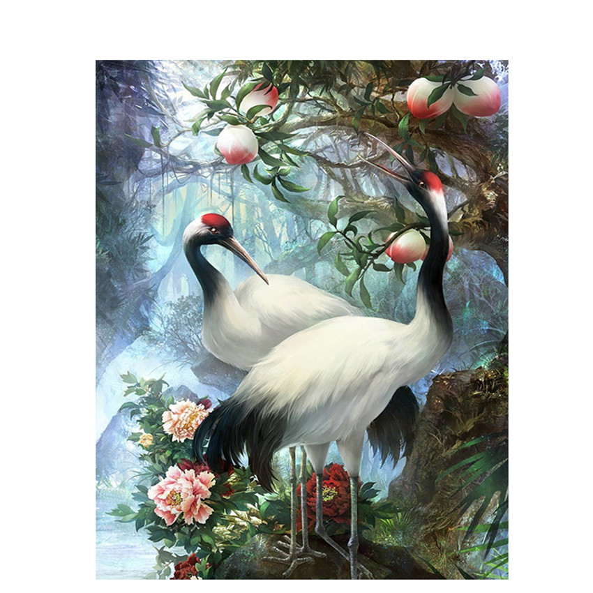 DIY Digital Painting By Numbers Package The Peach Crane Oil Painting Mural Kits Coloring Wall Art Picture Gift Frameless