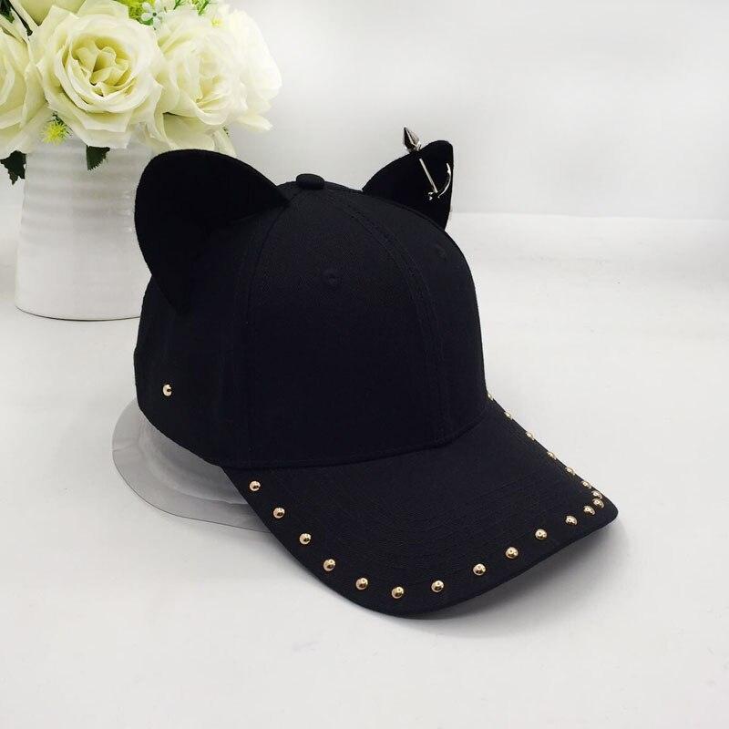 metal baseball cap female cotton equestrian cap ears 2