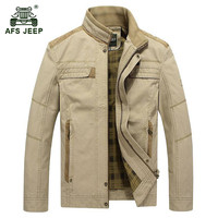AFS JEEP 2017 Europe middle age men autumn casual brand khaki plus size jacket coat spring man 100% pure cotton amry green coats