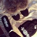2017 Fashion handmade women high quality flower rhinestone ladies natural fur ball wool knitted Hat & Glove Sets female