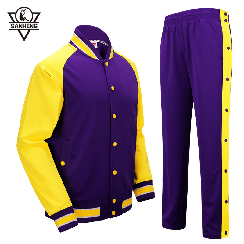 SANHENG Men's Basketball Jersey Competition Uniforms Suits Full Button Pants Sports Clothes Sets Custom Basketball Jerseys 513AB college basketball jersey wildcats 23 100% college basketball jerseys