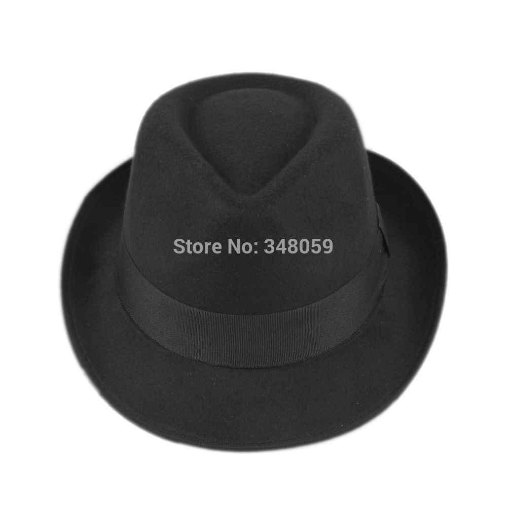 Unisex Men Women Wool Cotton felt fedora hat Cappelli Jazz Felt Floppy  Ribbon Band Panama Hat 72d430d63e1f