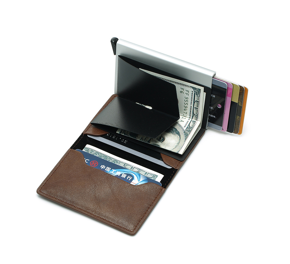 Mens Small Slim Leather Wallets Rfid Card Holder 54