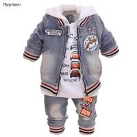 Three Piece Denim Suit Boy Spring New Baby Infant Child Long Sleeve Three Sets