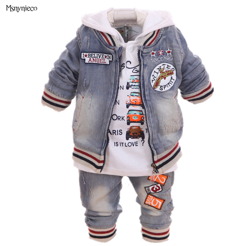 Baby Boy Suit 2017 New Casual Children's Clothing Sets Cowboy Jacket+T-shirt+Pants Kids 3pcs Suit Sets Infant Baby Boys Clothes baby girl clothes sets 2017 brand autumn fashion lace floral denim jacket t shirt jeans kids 3pcs suit infant baby clothing