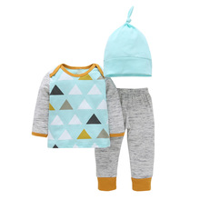 Autumn 2017 Newborn Baby Clothes Set Arrow Print Cotton T-shirt Tops +pant + Hat 3pcs Outfit Toddler Kids Clothing Set