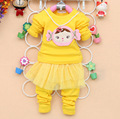 Free shipping 2016 new spring and autumn baby clothing set baby korean girl's two pcs suits