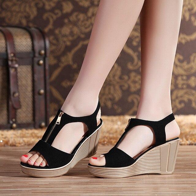 5dffe6d9bb Matte Kulit Sapi Wanita Sandal Wanita Kulit Asli Sandal Sepatu Musim Panas  Baru Sepatu Wedge Heels