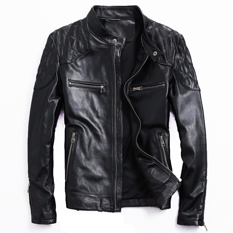 New Retro Classic Motorcycle Streetwear COW GOAT Leather Jackets Slim Male Motor Riding Jacket Men s