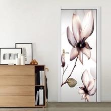 3D Prints Flower Poster PVC Waterproof Entire Door Sticker Creative Stickers Door Wall Sticker DIY Mural Bedroom Home Decor