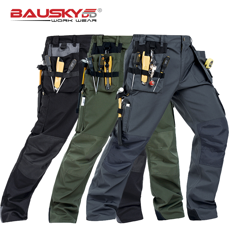 Working Clothes Construction Pants Craftsman's Work Pants For Men Construction Black Workwear Pants Cotton Twill B131