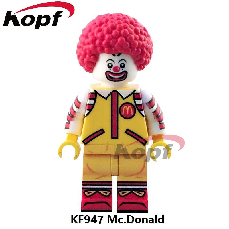 Single Sale Super Heroes Mc. Donald Ronald McDonald Mr. Kentucky Elvis Aron Presley Building Blocks Children Gift Toys KF947 building blocks super heroes back to the future doc brown and marty mcfly with skateboard wolverine toys for children gift kf197